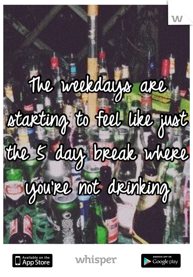 The weekdays are starting to feel like just the 5 day break where you're not drinking