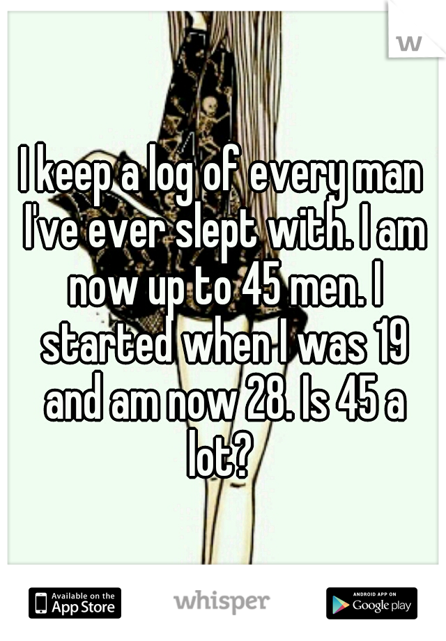 I keep a log of every man I've ever slept with. I am now up to 45 men. I started when I was 19 and am now 28. Is 45 a lot?