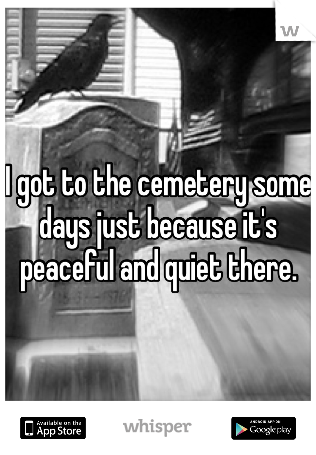 I got to the cemetery some days just because it's peaceful and quiet there.