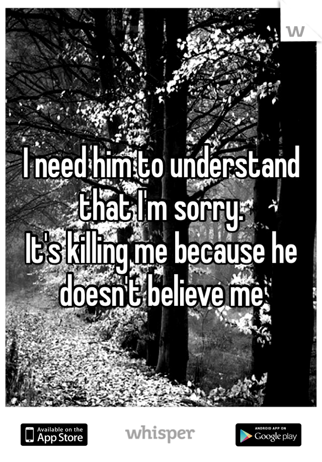 I need him to understand that I'm sorry.  It's killing me because he doesn't believe me