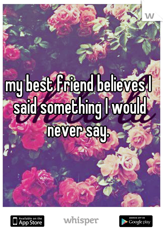 my best friend believes I said something I would never say.