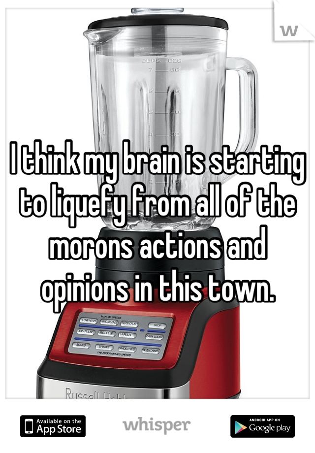 I think my brain is starting to liquefy from all of the morons actions and opinions in this town.