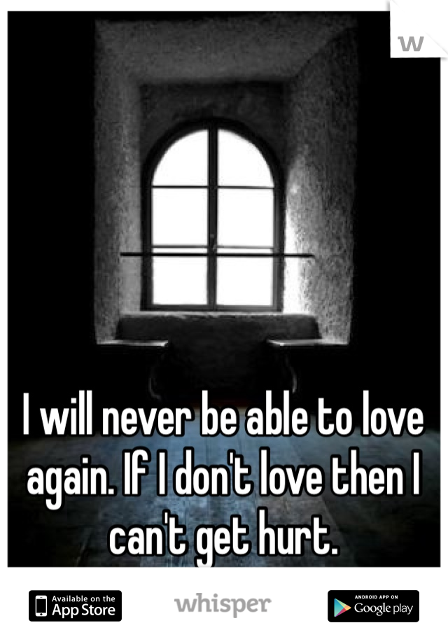 I will never be able to love again. If I don't love then I can't get hurt.