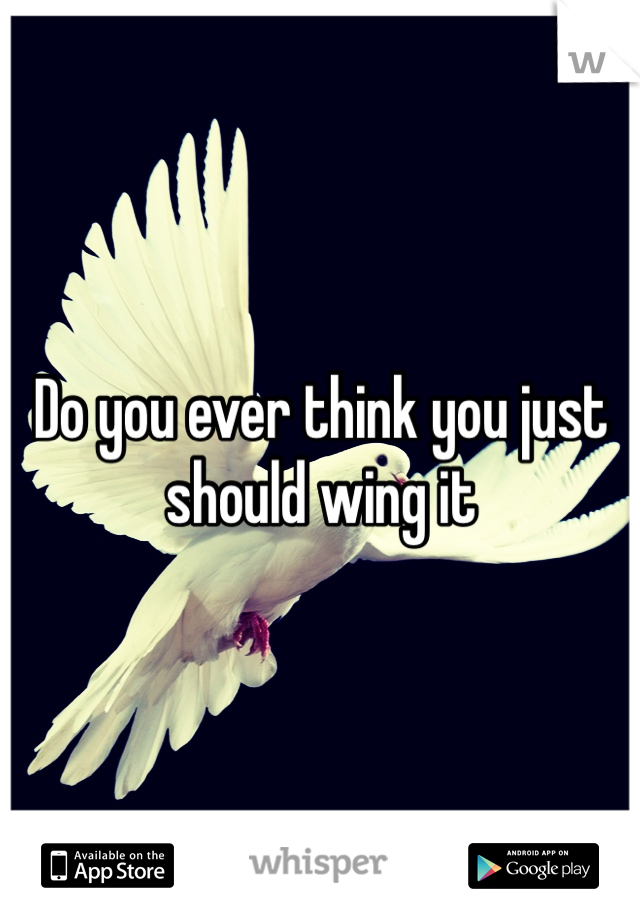 Do you ever think you just should wing it