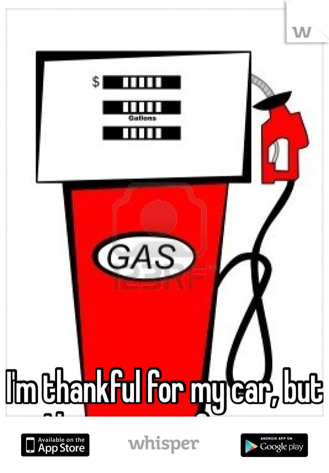 I'm thankful for my car, but I hate paying for gas.