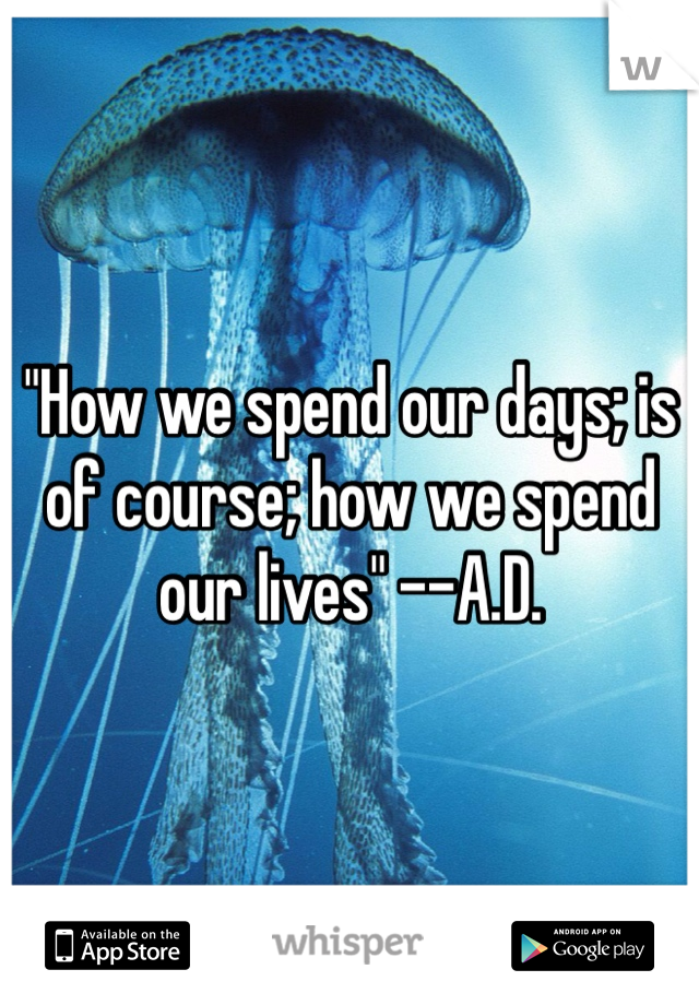 """""""How we spend our days; is of course; how we spend our lives"""" --A.D."""