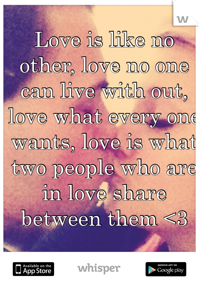 Love is like no other, love no one can live with out, love what every one wants, love is what two people who are in love share between them <3