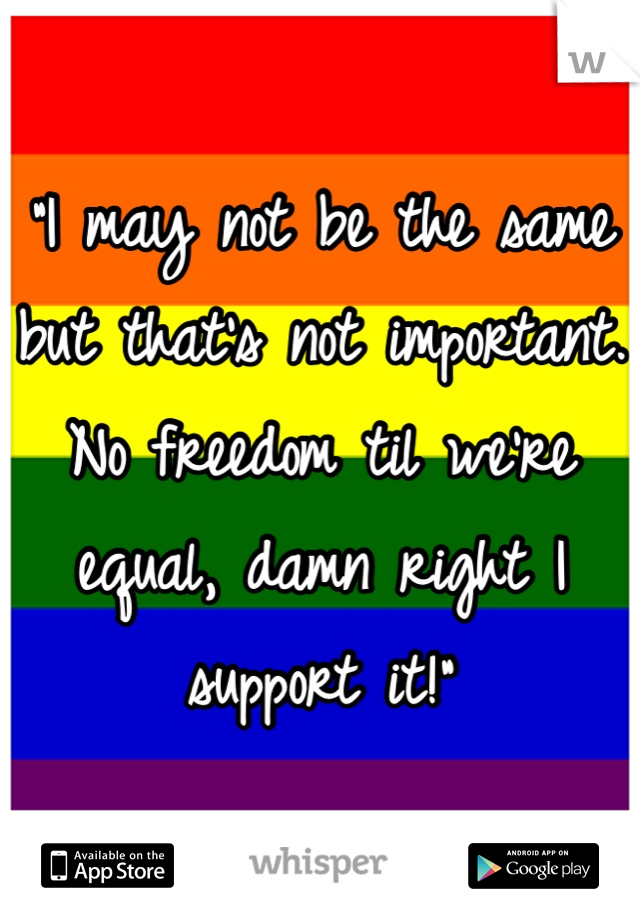 """""""I may not be the same but that's not important. No freedom til we're equal, damn right I support it!"""""""