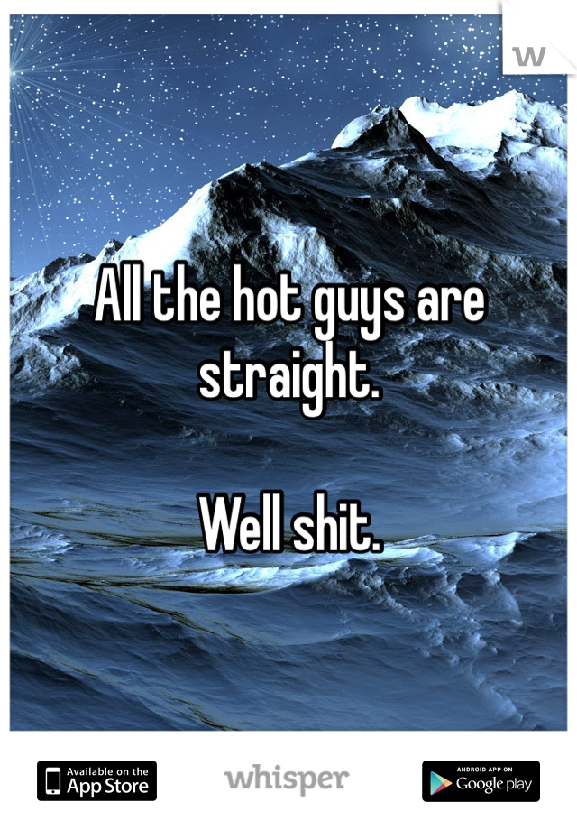 All the hot guys are straight.   Well shit.