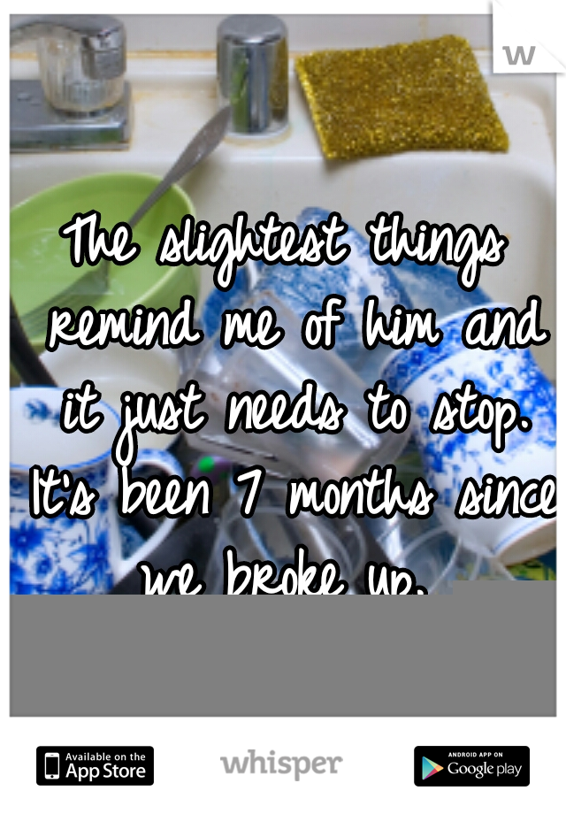 The slightest things remind me of him and it just needs to stop. It's been 7 months since we broke up.