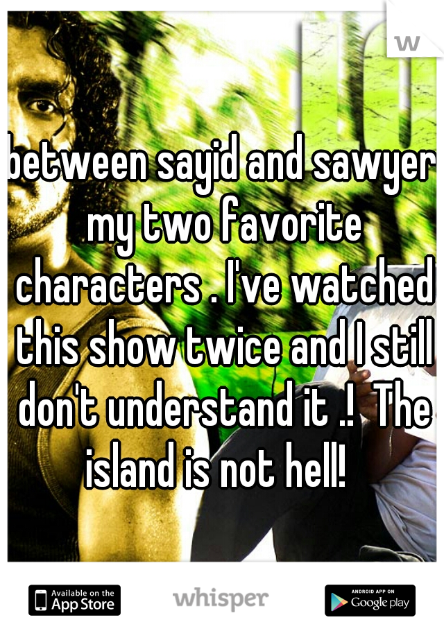 between sayid and sawyer my two favorite characters . I've watched this show twice and I still don't understand it .!  The island is not hell!
