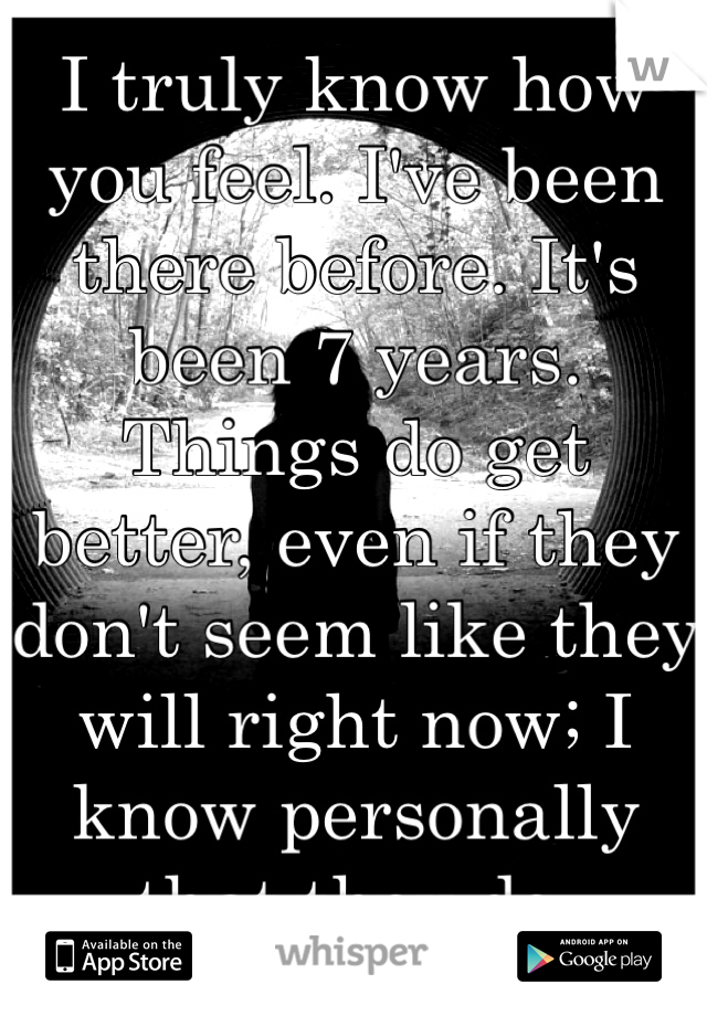 I truly know how you feel. I've been there before. It's been 7 years. Things do get better, even if they don't seem like they will right now; I know personally that they do.