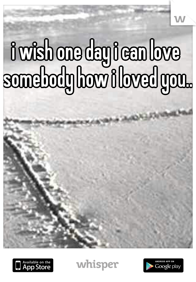 i wish one day i can love somebody how i loved you..