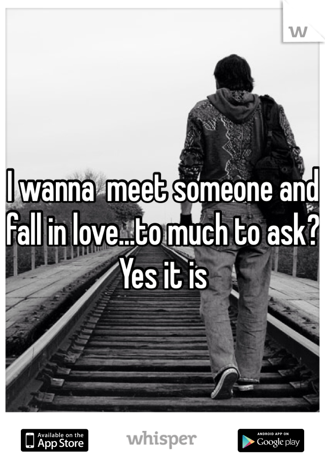 I wanna  meet someone and fall in love...to much to ask? Yes it is