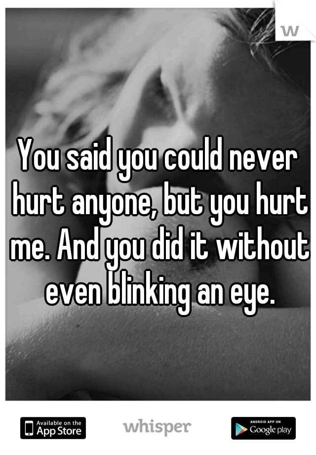 You said you could never hurt anyone, but you hurt me. And you did it without even blinking an eye.