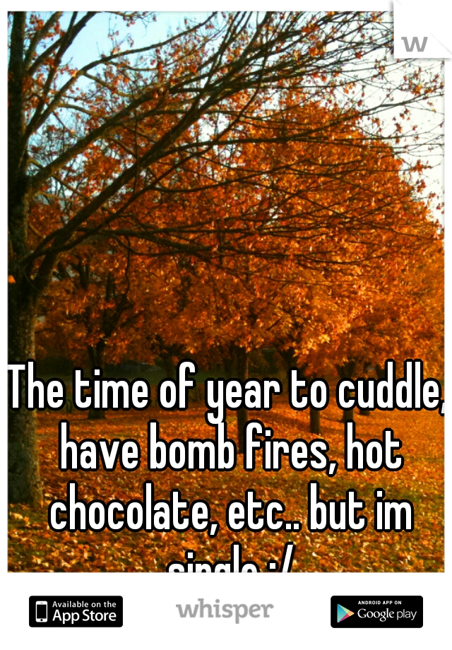 The time of year to cuddle, have bomb fires, hot chocolate, etc.. but im single :/