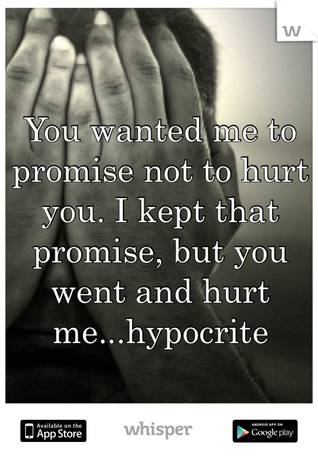 You wanted me to promise not to hurt you. I kept that promise, but you went and hurt me...hypocrite