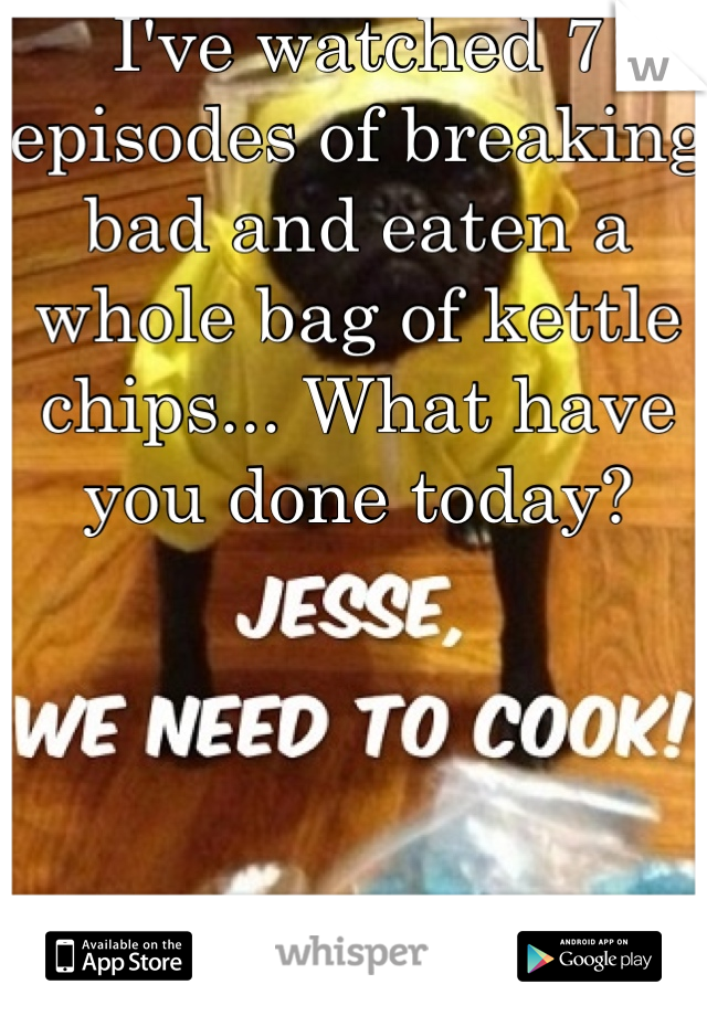 I've watched 7 episodes of breaking bad and eaten a whole bag of kettle chips... What have you done today?