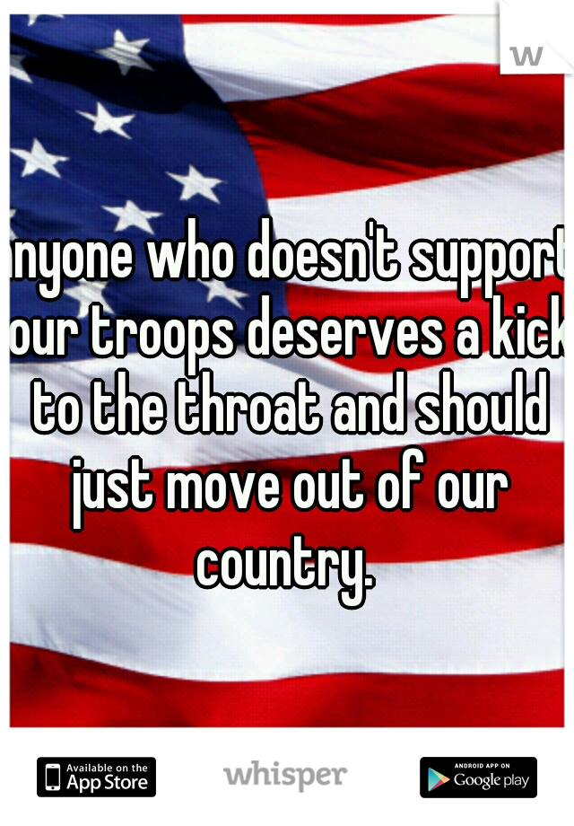 anyone who doesn't support our troops deserves a kick to the throat and should just move out of our country.