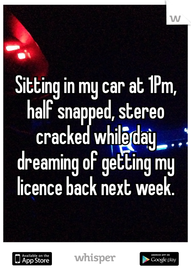 Sitting in my car at 1Pm, half snapped, stereo cracked while day dreaming of getting my licence back next week.