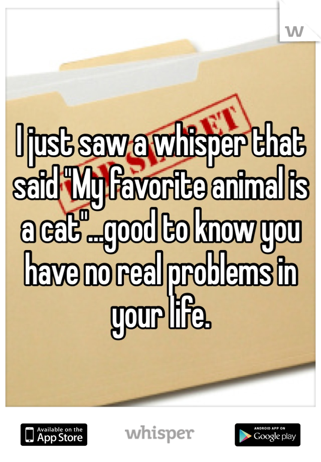 """I just saw a whisper that said """"My favorite animal is a cat""""...good to know you have no real problems in your life."""