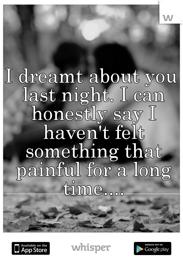 I dreamt about you last night. I can honestly say I haven't felt something that painful for a long time....