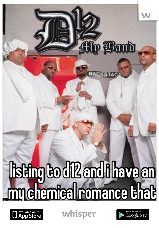 listing to d12 and i have an my chemical romance that is messed up!!