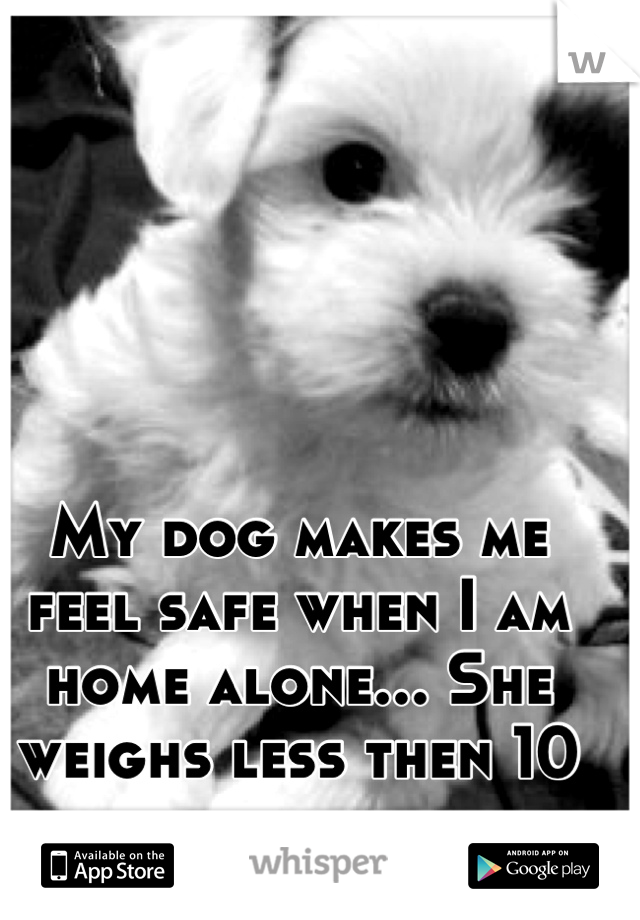 My dog makes me feel safe when I am home alone... She weighs less then 10 pounds.