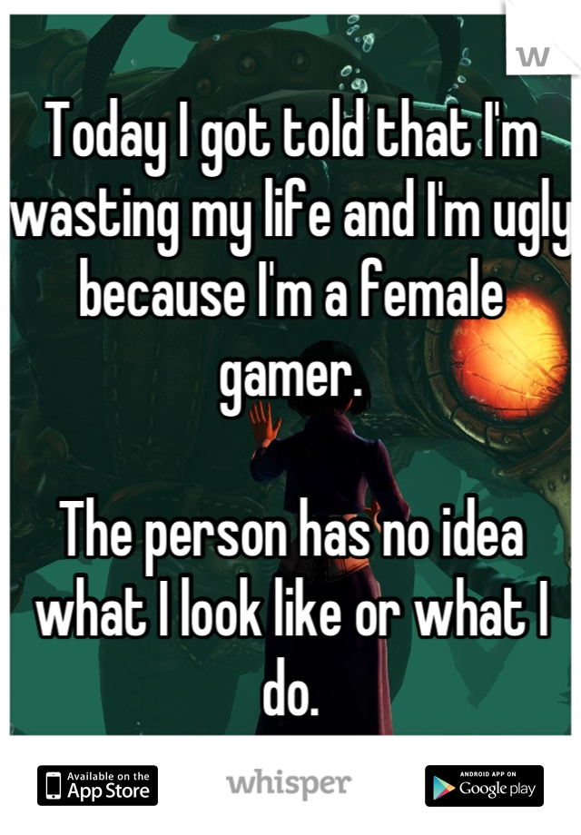 Today I got told that I'm wasting my life and I'm ugly because I'm a female gamer.  The person has no idea what I look like or what I do.