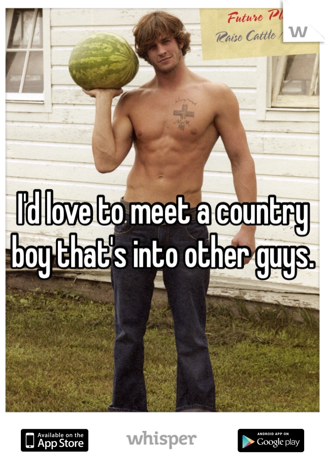 I'd love to meet a country boy that's into other guys.