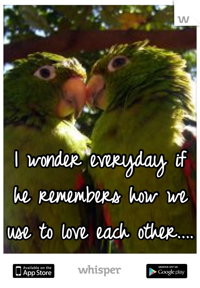 I wonder everyday if  he remembers how we use to love each other....