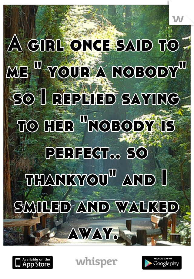 """A girl once said to me """" your a nobody"""" so I replied saying to her """"nobody is perfect.. so thankyou"""" and I smiled and walked away."""