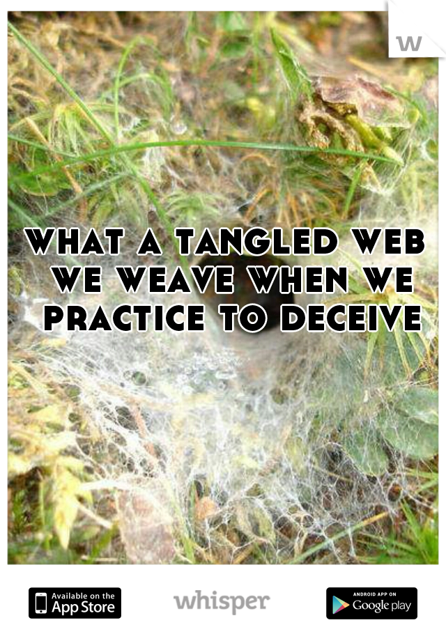 what a tangled web we weave when we practice to deceive