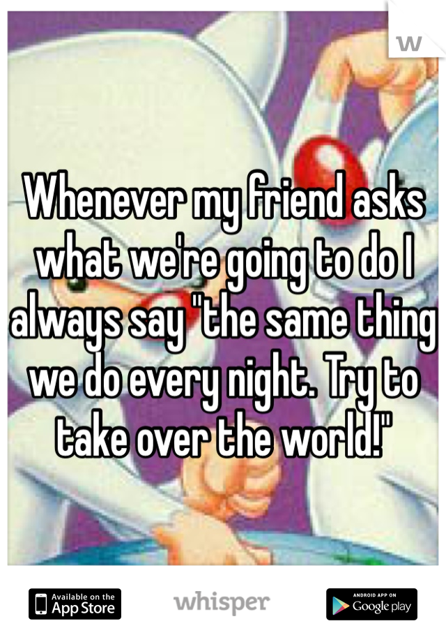 "Whenever my friend asks what we're going to do I always say ""the same thing we do every night. Try to take over the world!"""