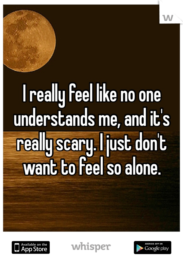 I really feel like no one understands me, and it's really scary. I just don't want to feel so alone.