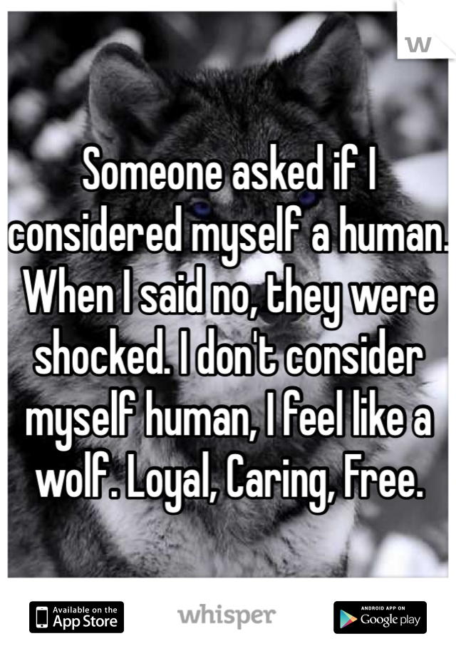 Someone asked if I considered myself a human. When I said no, they were shocked. I don't consider myself human, I feel like a wolf. Loyal, Caring, Free.