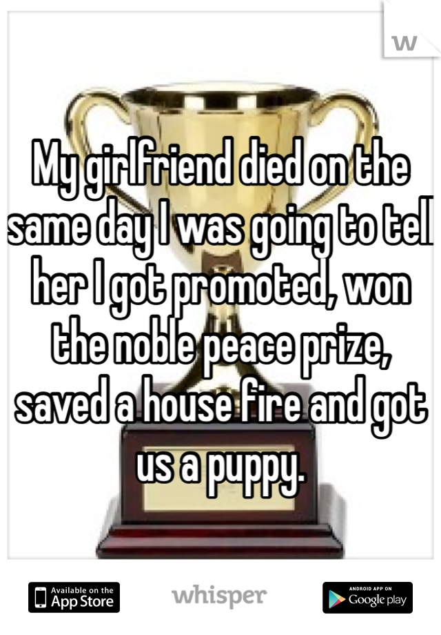 My girlfriend died on the same day I was going to tell her I got promoted, won the noble peace prize, saved a house fire and got us a puppy.