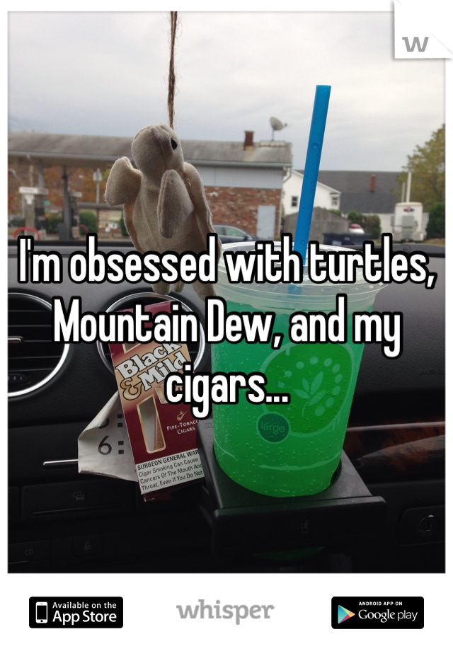 I'm obsessed with turtles, Mountain Dew, and my cigars...