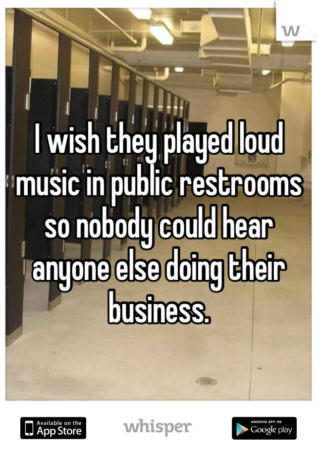 I wish they played loud music in public restrooms so nobody could hear anyone else doing their business.