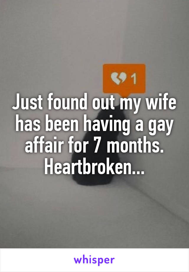 Just found out my wife has been having a gay affair for 7 months. Heartbroken...
