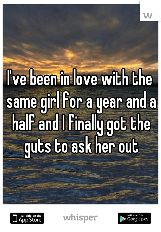 I've been in love with the same girl for a year and a half and I finally got the guts to ask her out