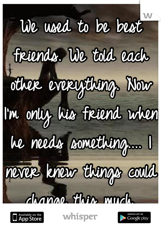 We used to be best friends. We told each other everything. Now I'm only his friend when he needs something.... I never knew things could change this much.