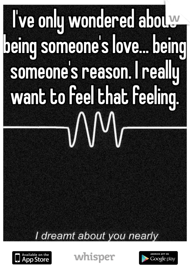 I've only wondered about being someone's love... being someone's reason. I really want to feel that feeling.