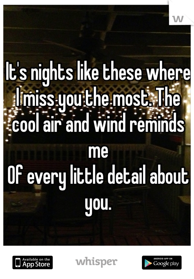 It's nights like these where I miss you the most. The cool air and wind reminds me Of every little detail about you.