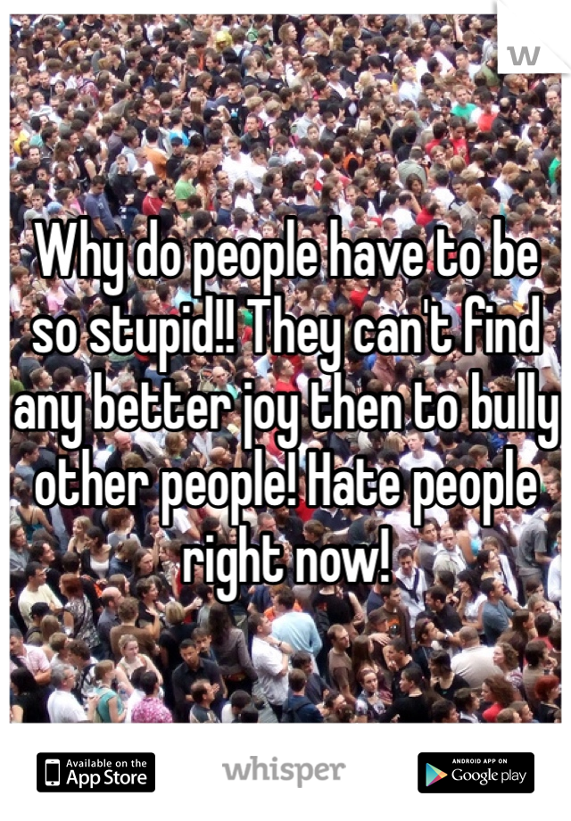 Why do people have to be so stupid!! They can't find any better joy then to bully other people! Hate people right now!
