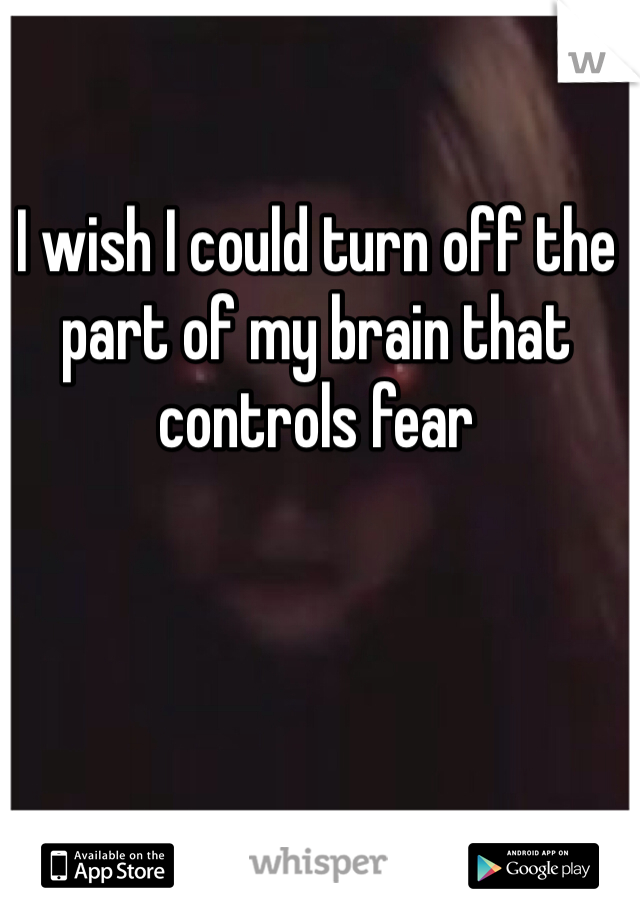 I wish I could turn off the part of my brain that controls fear