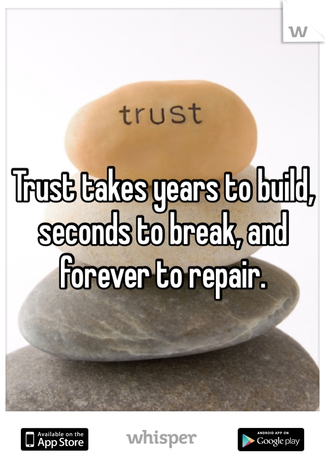 Trust takes years to build, seconds to break, and forever to repair.