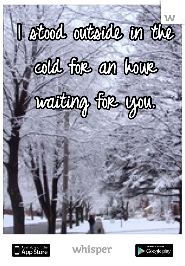 I stood outside in the cold for an hour waiting for you.