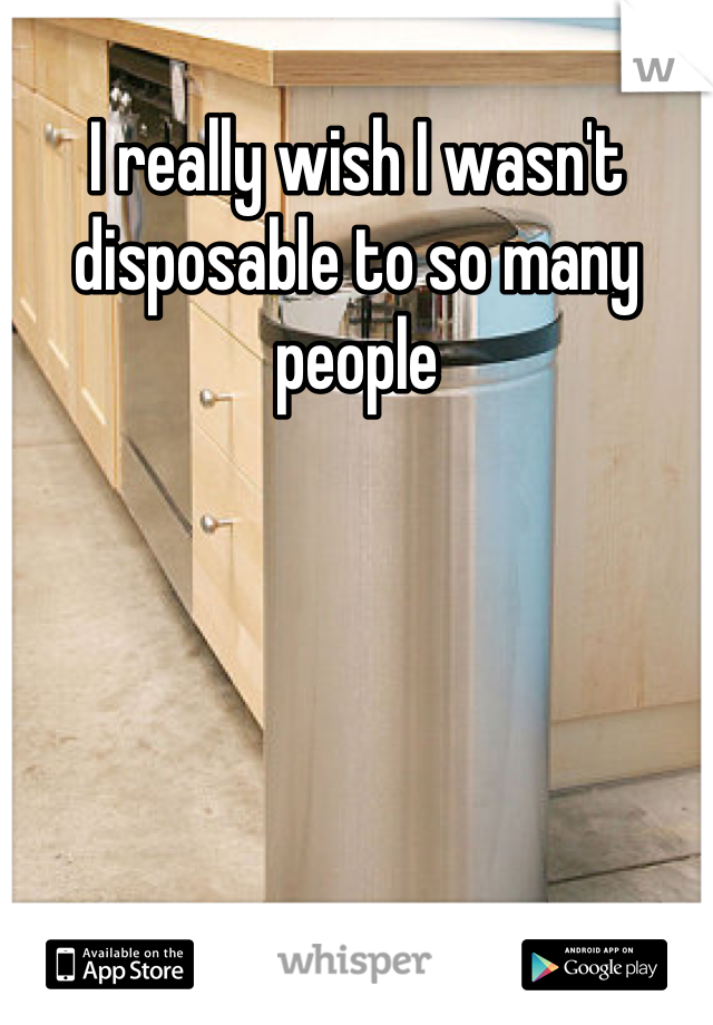 I really wish I wasn't disposable to so many people