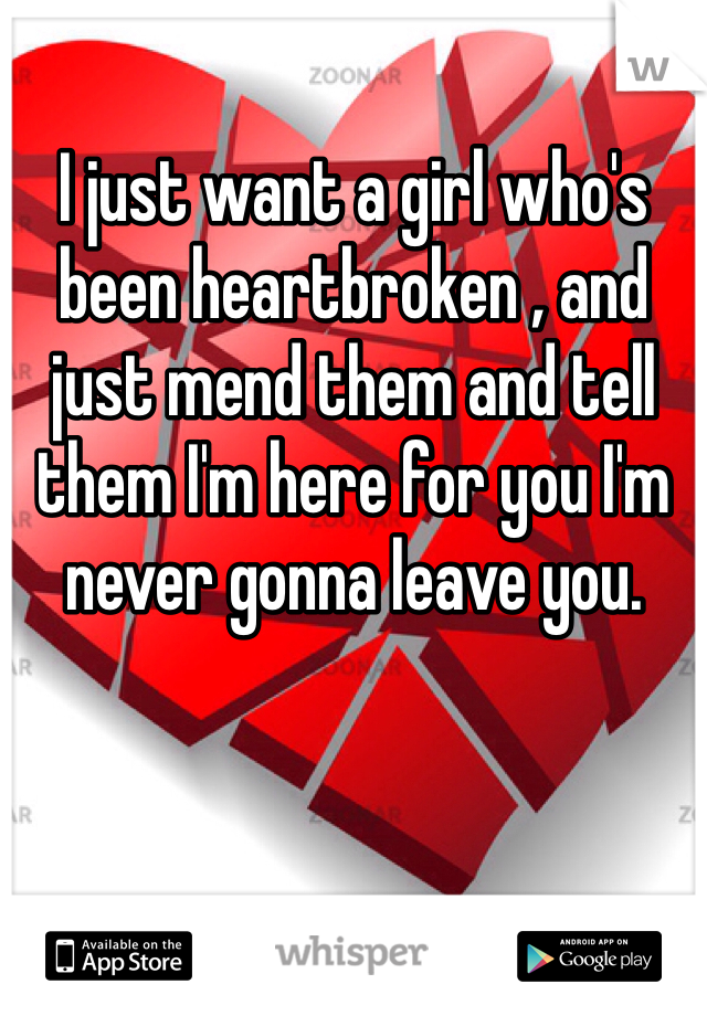 I just want a girl who's been heartbroken , and just mend them and tell them I'm here for you I'm never gonna leave you.